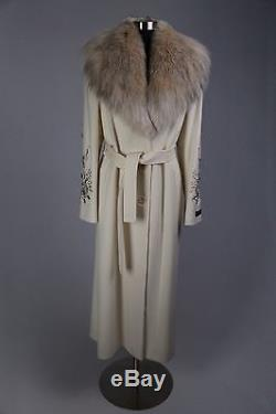 LORO PIANA CASHMERE LUXURIOUS WOMENs COAT EMBROIDERED SLEEVES LYNX FUR COLLAR