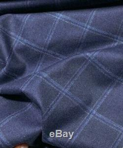 LORO PIANA CASHMERE Wool PLAID Suiting Fabric Navy Blue Check Flannel 1.5 meter