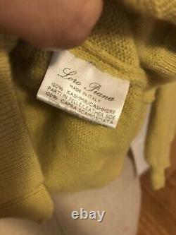LORO PIANA Cashmere Sweater Suede Elbow Patches, Chartreuse, 44IT, EXCELLENT