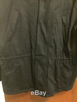 LORO PIANA Icer Black 100% Cashmere Coat Quilted Lining Hood Zip/Snap Front XL