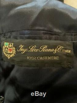 LORO PIANA Italy Double Breasted 100% CASHMERE Navy Blue Top Over Coat 48 Chest