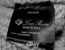 LORO PIANA Knit 100% Baby Cashmere Mockneck Long Cableknit Thick Sweater 46 L