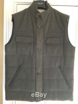 LORO PIANA Men's Slate Gray Cashmere Wool Suede Trim Quilted Vest SZ LARGE