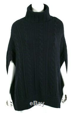 LORO PIANA Midnight Blue Cashmere Dolman Sleeve Cable Knit Turtleneck Sweater 44