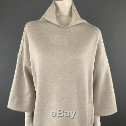 LORO PIANA Size S Hetaher Grey Cashmere Blend High Neck A Line Dress