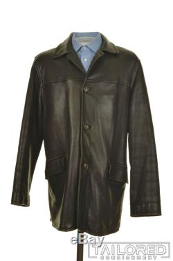 LORO PIANA Solid Brown Leather Cashmere Lining Mens Jacket Coat MEDIUM