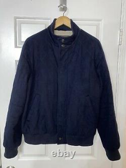 LORO PIANA cashmere navy diamond quilted storm system snap button coat jacket XL