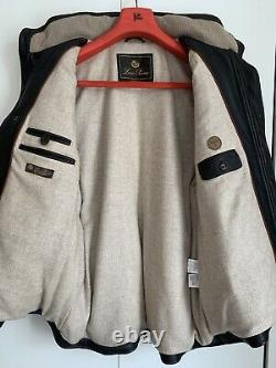 LORO PIANA deer leather down vest cashmere lined XL