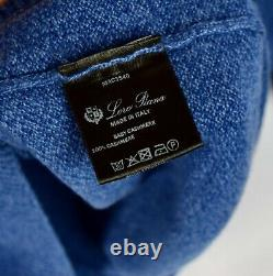 Loro Piana 100% Baby Cashmere Royal Blue 1/2 Zip Pullover Sweater Men's Large L