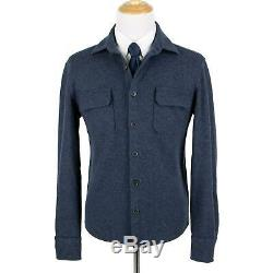 Loro Piana Aegean Blue 96% Cashmere Flannel Suede Trim Shirt Jacket Shacket M