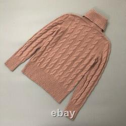 Loro Piana BABY CASHMERE Pink Cable Knit Jumper Sweater Pullover Size IT42 S