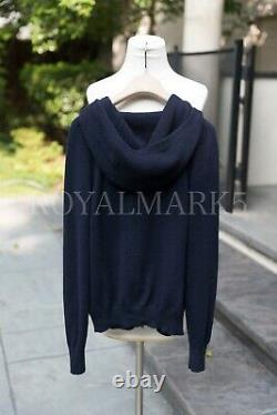 Loro Piana Baby Cahmere Cardigan Sweater Hoodie Navy size IT38 XS