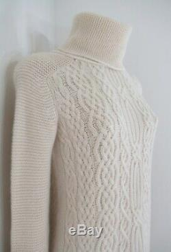 Loro Piana Baby Cashmere Cable Knit Turtleneck Tunic Sweater 36