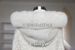 Loro Piana Baby Cashmere Cardigan Sweater Fox Fur Shearling New Leather Trim M