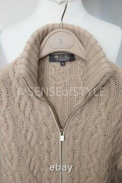 Loro Piana Baby Cashmere Chunky Cable Camel Suede Trim Cardigan Sweater IT38 XS