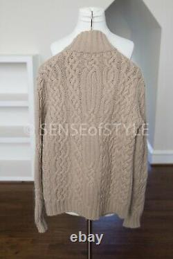 Loro Piana Baby Cashmere Chunky Cable Camel Suede Trim Cardigan Sweater IT48 M