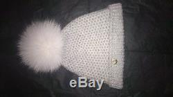 Loro Piana Baby&Kids 100% cashmere hat with real fur pom