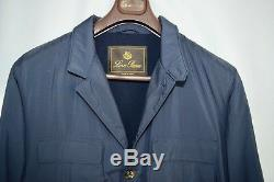 Loro Piana Blazer Coat Navy Quilted 100% Cashmere Lined Jacket Leather XXL 2XL