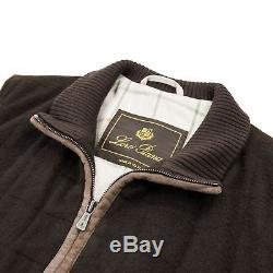 Loro Piana Brown Cashmere Suede Trim Lined Quilted Vest Gilet Small