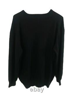 Loro Piana Cashmere Black V-Neck Sweater Made in Italy Size 56 US XL