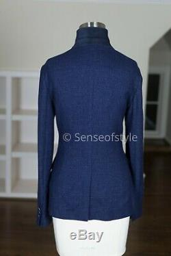 Loro Piana Cashmere Blue Blazer Top Jacket Suede Trim Size IT40 S