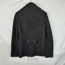 Loro Piana Cashmere Blue Tweed Thick Cashmere Jacket Women's Leather Size M 44