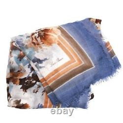 Loro Piana Cashmere Watercolor Scarf Blue Brown Floral Large Square 52
