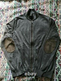 Loro Piana Cashmere and Leather Trimmed Zip Up Sweater 46 IT
