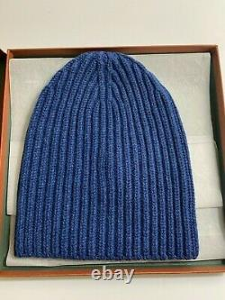 Loro Piana Cobalt Blue Maglia Inglese 100% Cashmere Hat From Italy BRAND NEW