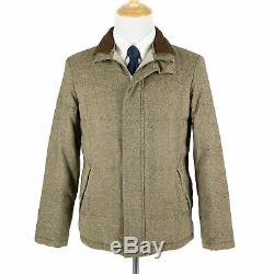 Loro Piana Donegal Tweed Suede Cashmere Trim Storm System Heavy Puffer Jacket S