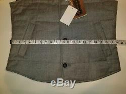 Loro Piana Favola Quilted Wool & Cashmere Buttoned Vest Gray Size 50 New