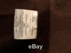 Loro Piana Italy 100% cashmere, super soft leather brown cardigan XS/S Italy 44
