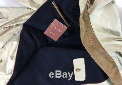 Loro Piana Jacket Hay Brown Windmate Roadster Navy Cashmere Lined Coat XL 54 New