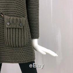 Loro Piana Ladies Olive Green CASHMERE Knitted Long Duffle Coat Size XS IT38 US2