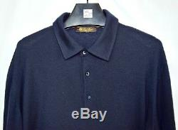 Loro Piana Light Weight Polo Sweater 100% Cashmere Navy Blue Solid Sz 56 XL