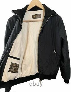 Loro Piana Mainline Quilted Bomber Jacket Womens 42 Small Black Cashmere Italy