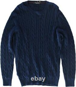 Loro Piana Men's Blue Baby Cashmere Cable Knit Sweater Size 56/46 Us
