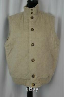 Loro Piana Men's Cashmere Button Up Vest Size Medium Cream Quilted Italy Cool