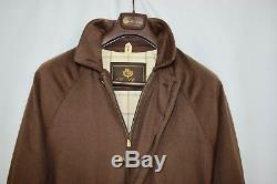 Loro Piana Mens 100% Cashmere Storm System Coat Jacket Brown Lining Sz XL Icer