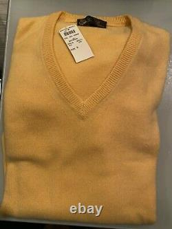Loro Piana Mens Cashmere Yellow Sweater M NEW WITH TAGS