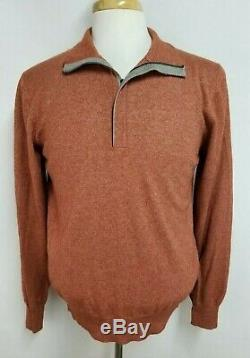 Loro Piana Mens sz 50 (USA M) Red Brown 50% Silk 50% Cashmere 1/4 Zip Sweater