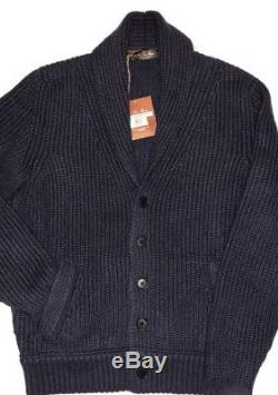 Loro Piana NWT $3295 Baby Cashmere Italy 50 Bromont Dark Slate Blue Shawl Collar