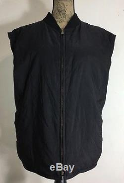 Loro Piana Nylon Quilted Cashmere Black Vest Womens Size XL Made In Italy