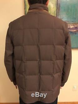 Loro Piana Puffer Coat Storm System Cashmere Goose Down Leather Size L Brown