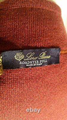 Loro Piana Roadster Cashmere Half-Zip Sweater Size 58IT/4XL In Red Made in Italy