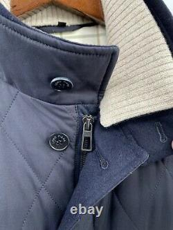 Loro Piana Rockland Storm System Quilted Cashmere Blend Navy Blue Jacket M (F2)