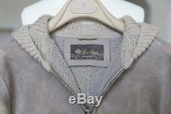 Loro Piana Shearling Lambskin Cashmere Leather Vest Hooded Size S