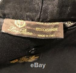 Loro Piana Solid Black Pure Cashmere Unstructured Patch Pocket Car Coat Size 42