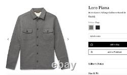 Loro Piana Storm System Cashmere Shearling Overshirt Large