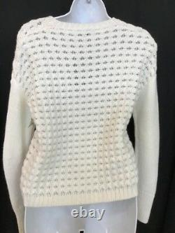 Loro Piana Sweater Ivory Knitted Cashmere Long Sleeve Size 38 NWT $2050